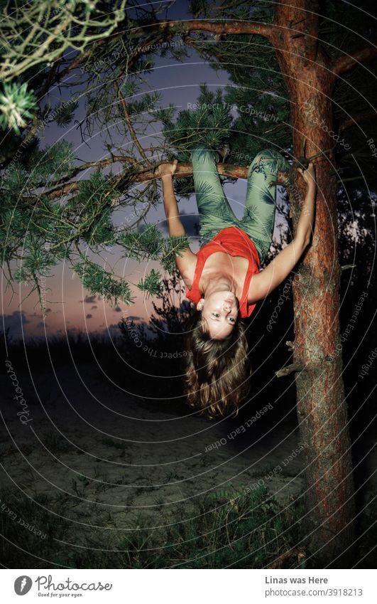 Eine romantische Postkarte über die Abenteuer und Erinnerungen an den längst vergangenen Sommer. Wilde Brünette Modell ist oben in einem Baum nur hängen und sein alle herrlich. Der Himmel ist in lila Farbe gemalt und direkten Blitz macht nur diesen Moment mehr real.