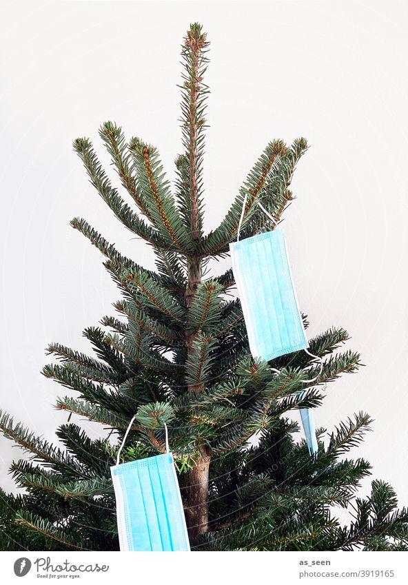 Corona Weihnachtsbaum Weihnachten grün Mund-Nasen-Schutz Atemschutzmaske Nordmanntanne Tannenbaum Weihnachten & Advent Weihnachtsdekoration