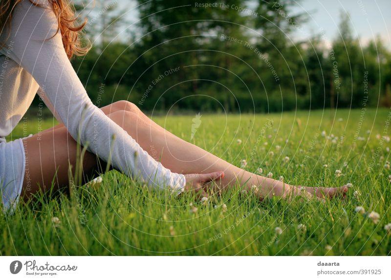 Mensch Frau Natur Jugendliche Sommer Junge Frau Landschaft 18-30 Jahre Wald Erwachsene Leben Blüte feminin Beine Garten Park