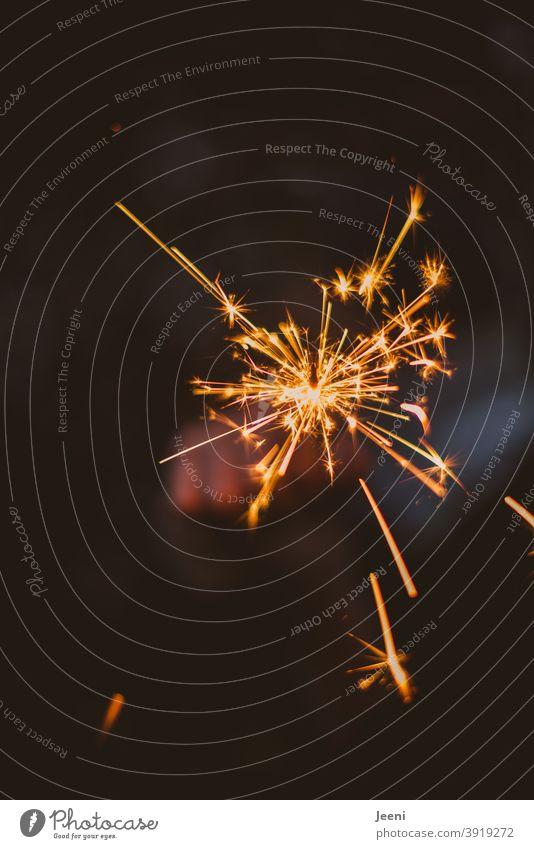 Eine leuchtend funkelnde Wunderkerze wird in der Hand gehalten | Vorfreude auf das was kommen wird Funken Feuer Feuerwerk Licht brennen brennend Freude dunkel