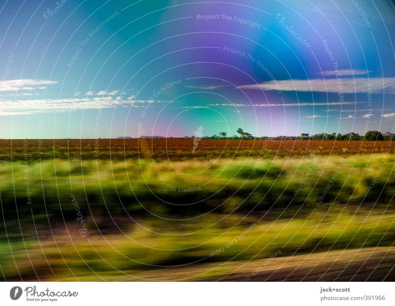 to go a long way Freiheit Landschaft Wolken Schönes Wetter Sträucher Outback Queensland fahren Ferien & Urlaub & Reisen Ferne Warmherzigkeit Ausdauer Horizont