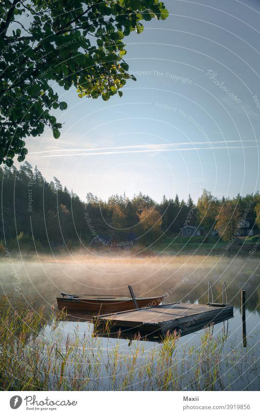 Boot im See Weitwinkel Starke Tiefenschärfe Kontrast Silhouette Außenaufnahme mehrfarbig Farbfoto Abenteuer Natur Umwelt Landschaft Schweden Nebelschleier