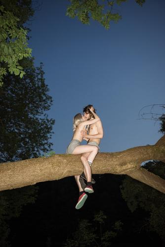 Wildes, wildes, wildes Paar, das sich in einer perfekten Sommernacht auf einem Baum küsst. Jung und nackt. wilde Jugend sexy Menschen barbusiges Mädchen Küssen