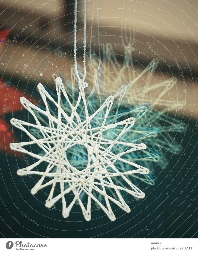 Sternbild Schmuck Vorfreude Weihnachten Stimmung Innenaufnahme Dekoration & Verzierung Weihnachtsdekoration glänzend Faden Fensterscheibe Weihnachten & Advent