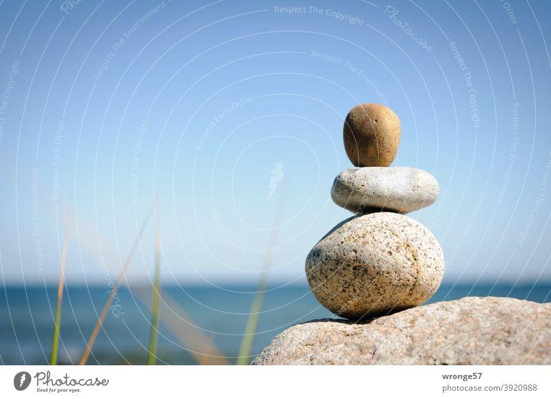 Steinmandl am Nordstrand vom Kap Arkona mit Blick auf die Ostsee Steinmännl Steinmänner Meer See stehen in Reihe stehen Strand Wasser Natur Küste