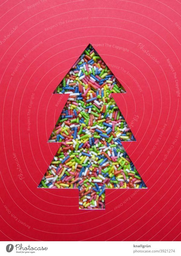 Weihnachtsbaum aus bunten Streuseln Dekoration & Verzierung mehrfarbig Weihnachten & Advent Weihnachtsdekoration Silhouette Tannenbaum gebastelt DIY verziert