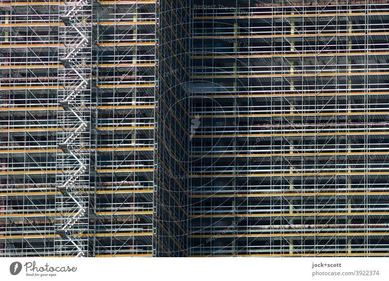Gerüst für Hochbau Wohnungsbau Gewerbebau Baugerüst Baustelle Sanieren Architektur Gebäude Hochhaus Hochhausfassade Erneuerung Fassade komplex steglitz