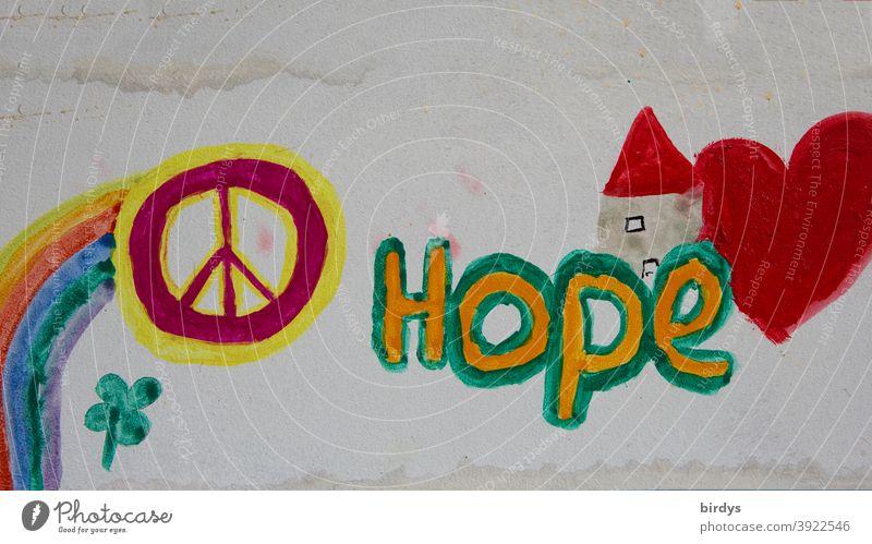 Hoffnung. Kinderbild mit Aufschrift Hope und dem Friedenssymbol. Coronapandemie Herz Hilfe Optimismus Schriftzeichen Regenbogen Englisch international global