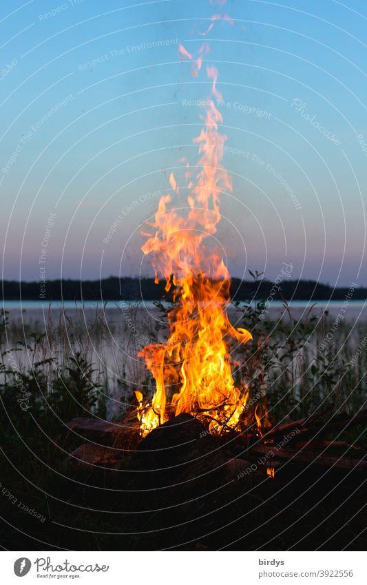 Lagerfeuer am Ufer eines See in der Abendämmerung. outdoor camping Feuer Natur Abenddämmerung Flammen Outdoor Abendhimmel Feuerstelle Wärme brennen Seeufer