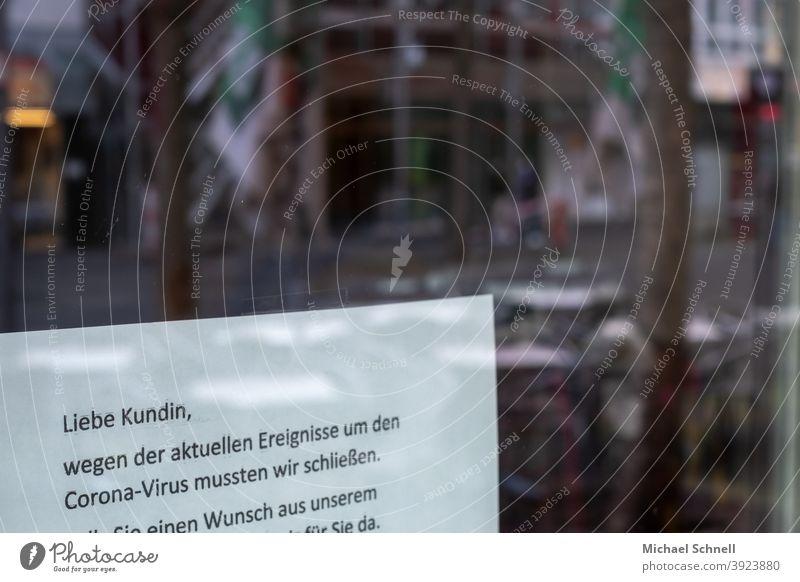 Benachrichtigung für die Kunden eines Geschäfts: Schließung wegen Corona-Virus I corona thoughts geschlossen geschlossene Geschäfte Mitteilung geschäft Laden