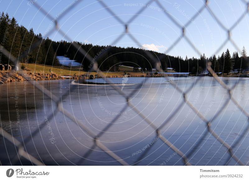 Durch den Zaun auf den kalten See schauen Maschendrahtzaun Eis Winter Wald Schwarzwald Himmel blau