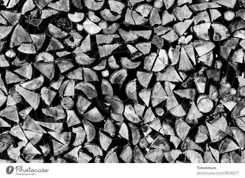 Ein Schwarzwälder Holzstapel Brennholz Vorrat aufgeschichtet Stapel Brennstoff Forstwirtschaft Außenaufnahme Menschenleer Schwarzweißfoto Schwarzwald