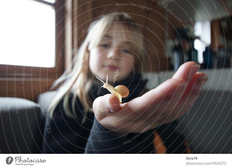 Blondes Mädchen mit Schnecke auf der Hand blond blondes Haar Gesicht natürlich Kind Jugendliche langhaarig Blick neugierig beobachten beobachtend Daumen
