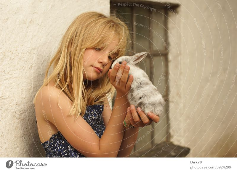 Junges Mädchen mit Kaninchen junges Mädchen mädchenhaft romantisch liebevoll Tierliebe Tierfreund Tierfreundschaft zart Zärtlichkeit zärtlich klein niedlich