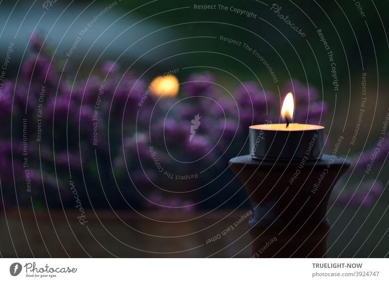 Stille Nacht... Abendstimmung mit Teelicht, das sich auf einem Kerzenständer in der Fensterscheibe spiegelt. Dahinter verschwommen violette Heidekraut Blüten und etwas Garten