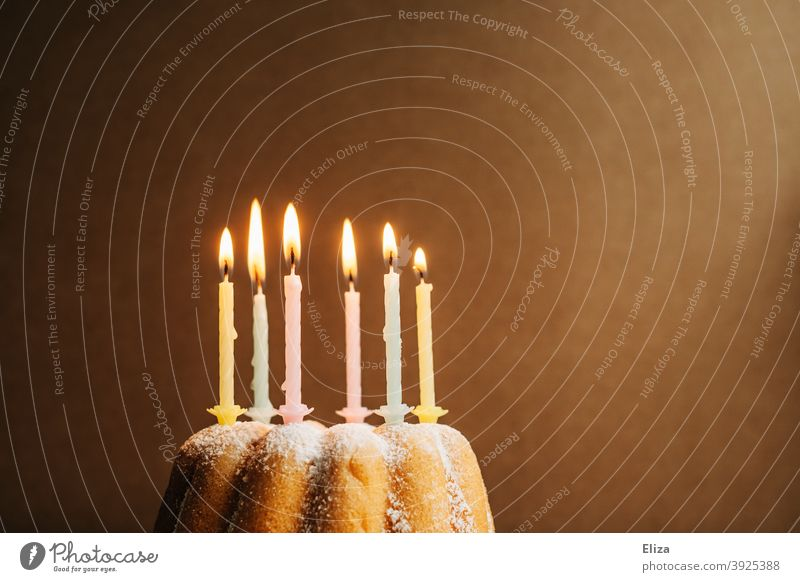 Brennende Geburtstagskerzen auf einem Geburtstagskuchen Kuchen Kerzen happy Birthday Geburtstagsfeier Guglhupf Feste & Feiern Kindergeburtstag Happy Birthday