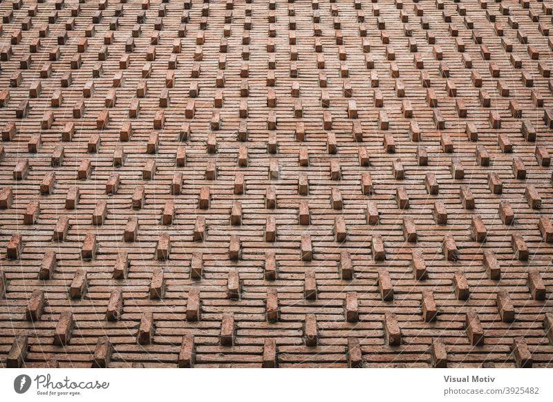 Hintergrund einer ornamentalen roten Backsteinmauer aus den frühen 30er Jahren Wand Ziegel abstrakt Textur Muster Architektur Design alt braun Oberfläche