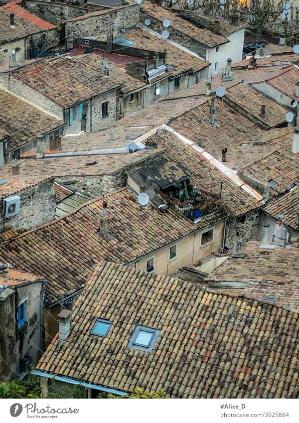 Viviers Frankreich exterior church city street antique broken window buildings nobody overlooking residential urban culture typical travel house ardeche europe