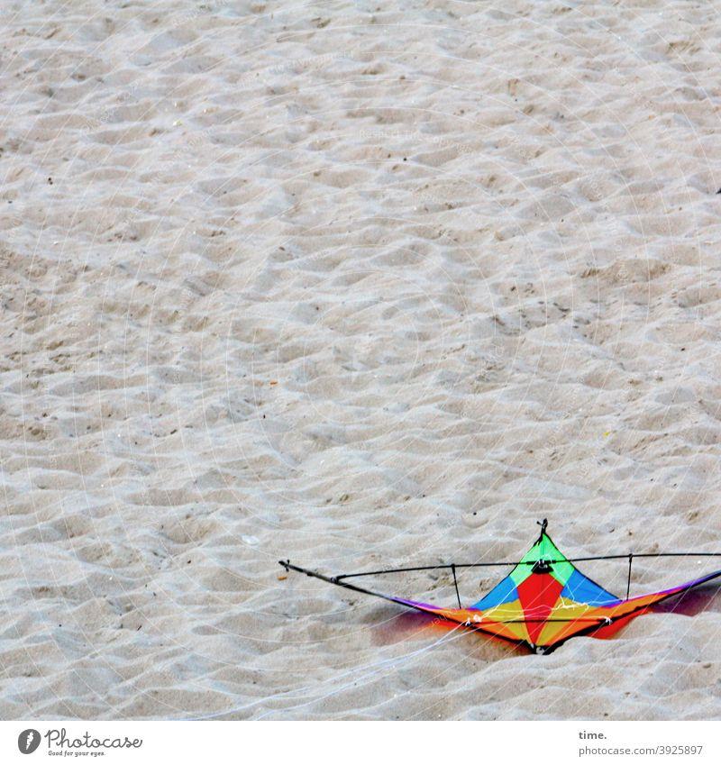 bunter Strandvogel drachen lenkdrachen strand liegen absturz notlandung sand spielzeug spielzeugdrachen Drachensport urlaub ferien freizeit