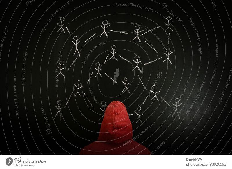 ein Netzwerk aus Menschen verbunden Kontrolle ansteckung übertragung Kommunikation Lauffeuer Internet anonym Verbreitung social media facebook Tafel Kreide