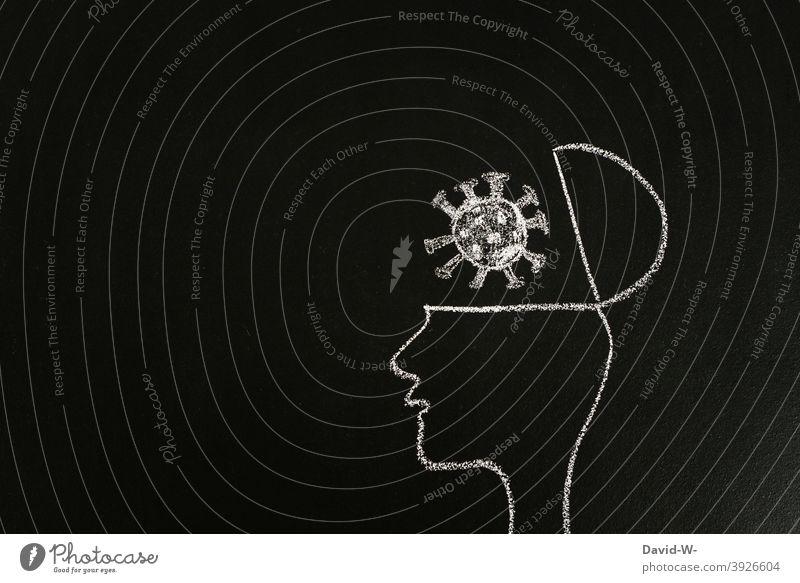 Coronavirus in unseren Köpfen Denken nachdenken Nachrichten coronavirus Gedanken Ängste Pandemie Kopf Zeichnung Angst Kreide Tafel Politik & Staat Impfung thema
