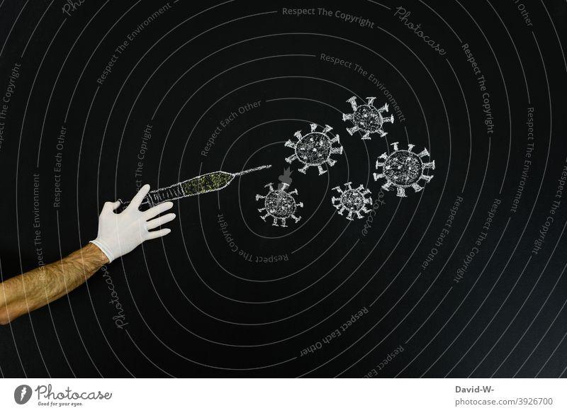 Spritze / Impfstoff gegen Corona als Zeichung impfen coronavirus Impfung Gesundheit Medikament Pandemie Zeichnung Kreativität