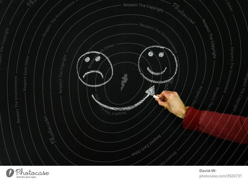 immer positiv denken Stimmung Optimist Optimismus Zufriedenheit Hoffnung Smiley Laune Gesicht Lächeln Motivation Darstellung konzept