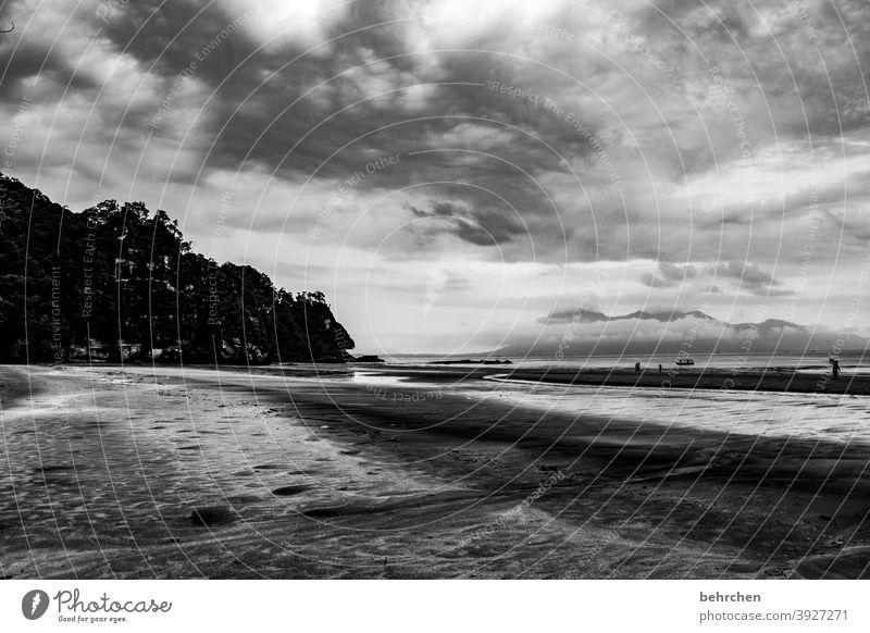 himmel und erde dramatischer himmel Dramatik Kontrast Licht Tag Sand Rinnsal kommen Wasserfahrzeug Sarawak Außenaufnahme Strand Meer bako nationalpark Malaysia
