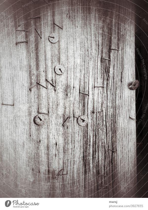 !Trash! 2020 | Heftklammersammlung konkurriert mit Reißzwecken an Holzwand festgemacht Rost alt einfach Riss verunstaltet ausgedient authentisch rissig