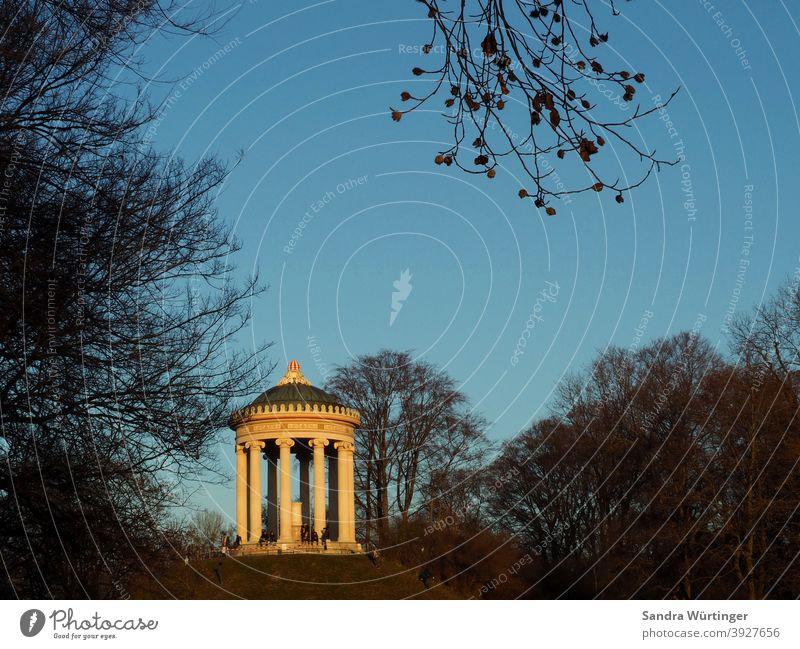 Monopterus/Tempel im Münchner Englischen Garten bei winterlicher Dämmerung München Englischer Garten Architektur Park Außenaufnahme Farbfoto grün schön Wiese