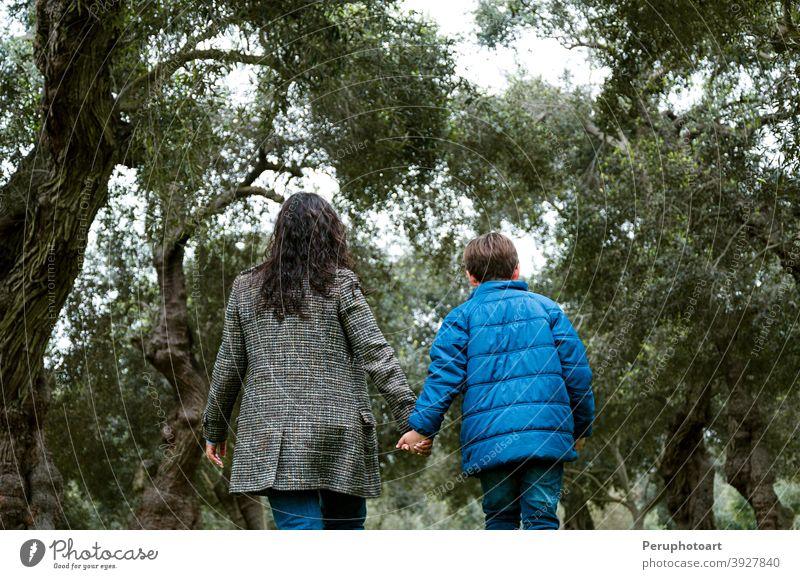 Mutter und Sohn halten sich an den Händen und gehen in einem Park Mama Familie Kind wenig Zusammensein Rücken Kindheit im Freien Eltern Menschen Lifestyle Liebe
