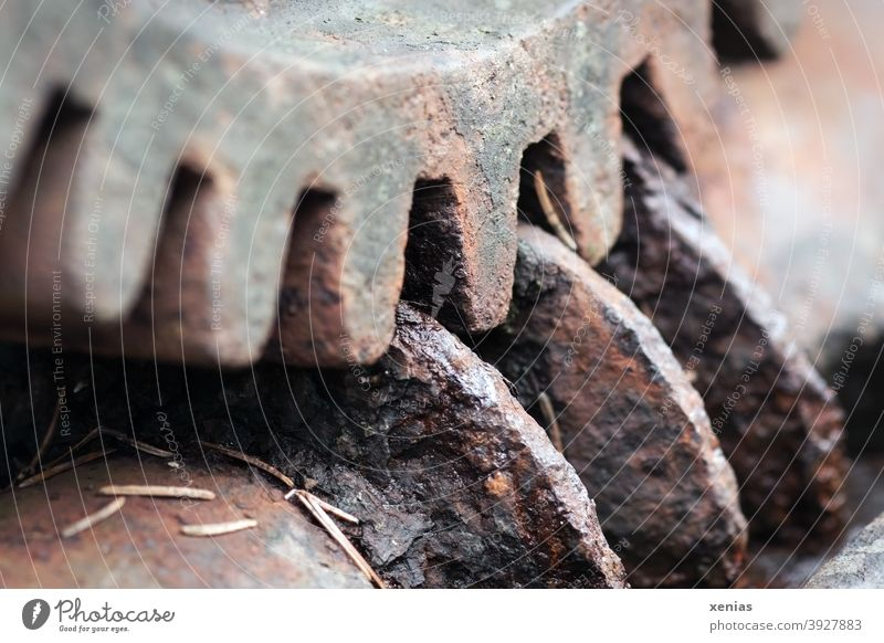 Altes rostiges Zahnrad greift in Rillen Rost alt Industrie verzahnt Strukturen & Formen Technik & Technologie Metall Patina verrostet Rad Getriebe Mechanismus