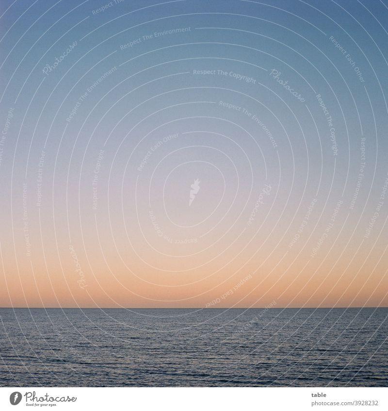 pastellfarbener Abendhimmel über der Ostsee Umwelt Natur Entspannung Windstille Meer Horizont Abendrot abendhimmel Ostseeküste negativscan Film Scan