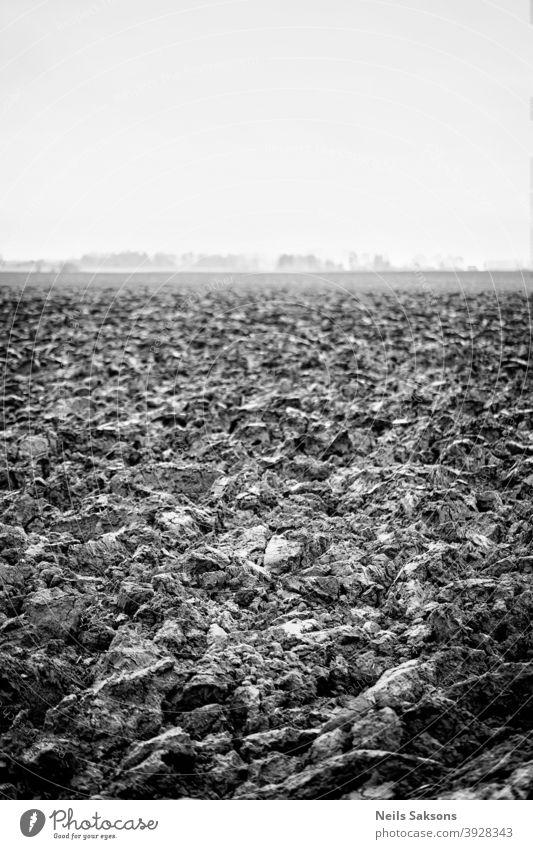 Gepflügtes landwirtschaftliches Feldmuster Boden Erde Himmel Ackerland Land Schmutz Ackerbau Agronomie Asien Herbst Hintergrund schwarz braun kultiviert