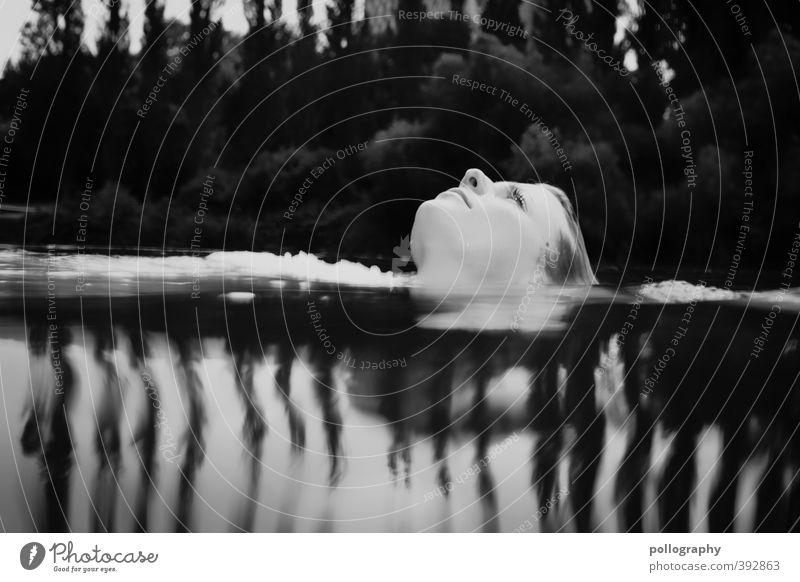 aufatmen Mensch feminin Junge Frau Jugendliche Erwachsene Leben Kopf 1 18-30 Jahre Sommer Baum Wald Seeufer Teich schön ruhig träumen Gesicht Schwimmen & Baden
