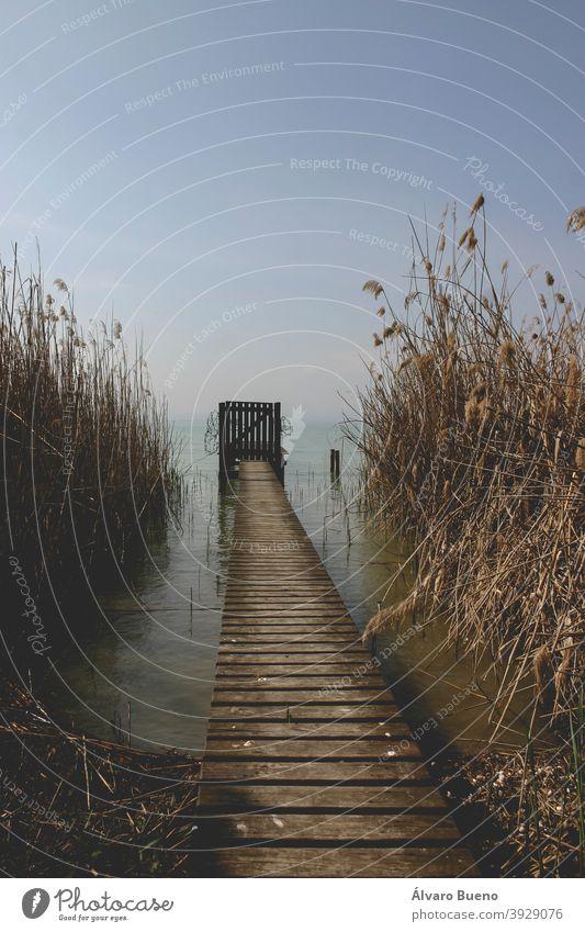 Pier, Steg und Badestellen, inmitten des Schilfs, am Gardasee oder Benaco, zwischen den Regionen Venetien und Lombardei. Italien Fotografie reisen Jahr 2006