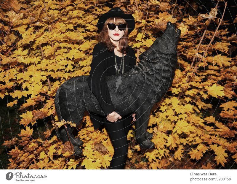 Der Herbst ist da. Ein wunderschönes brünettes Modell in schwarz gekleidet ist mit einem schwarzen Wolf Statue posiert. Gelbe goldene Blätter sind im Hintergrund und das hübsche Gesicht Mädchen trägt eine Sonnenbrille.