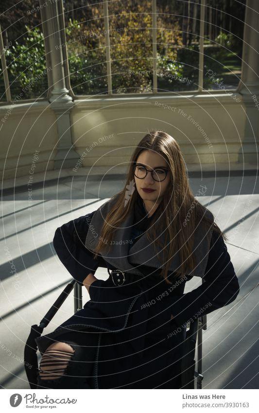 Ein wunderschönes Mädchen, gekleidet in einen modischen Herbstmantel, sitzt auf einem Stuhl in der Mitte des Kristallpalastes. Mit anderen Worten, der Palacio de Cristal befindet sich im Retiro Park in Madrid. Hübsches Gesicht brünette Modell ist auch eine Brille tragen.