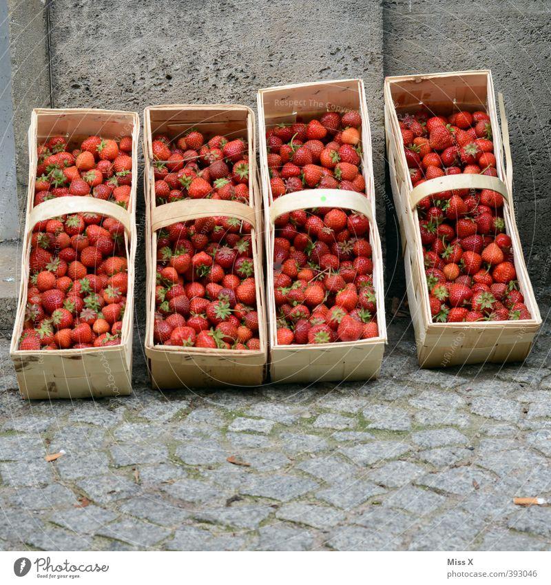 Saisonende Lebensmittel Frucht frisch Ernährung süß Ernte lecker Bioprodukte Beeren Picknick saftig verkaufen Korb Erdbeeren Marktplatz Vegetarische Ernährung