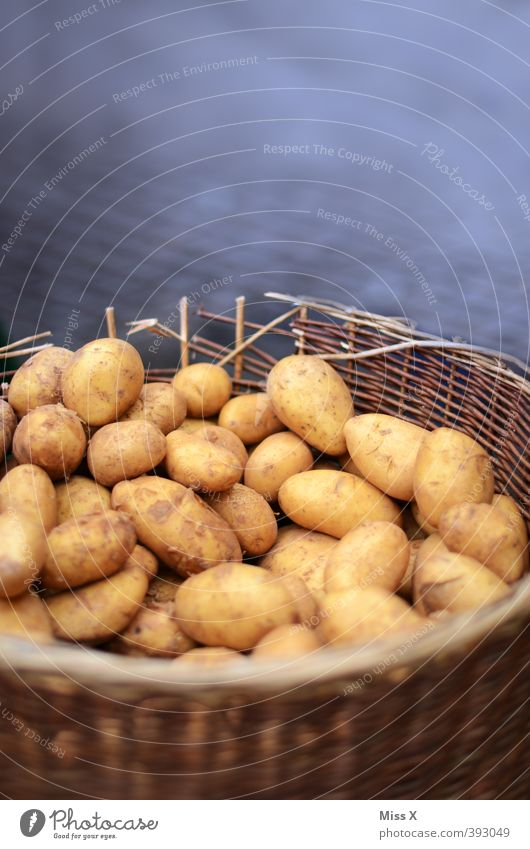 Erpfl Lebensmittel Gemüse Ernährung Bioprodukte Vegetarische Ernährung dreckig frisch Gesundheit lecker braun Wochenmarkt Kartoffeln Korb Gemüsemarkt Marktstand