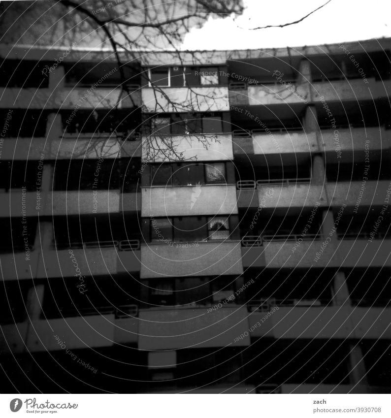 Nachbarschaft Lomografie Scan Holga Doppelbelichtung Stadt analog Dia Analogfoto Haus grau Balkon