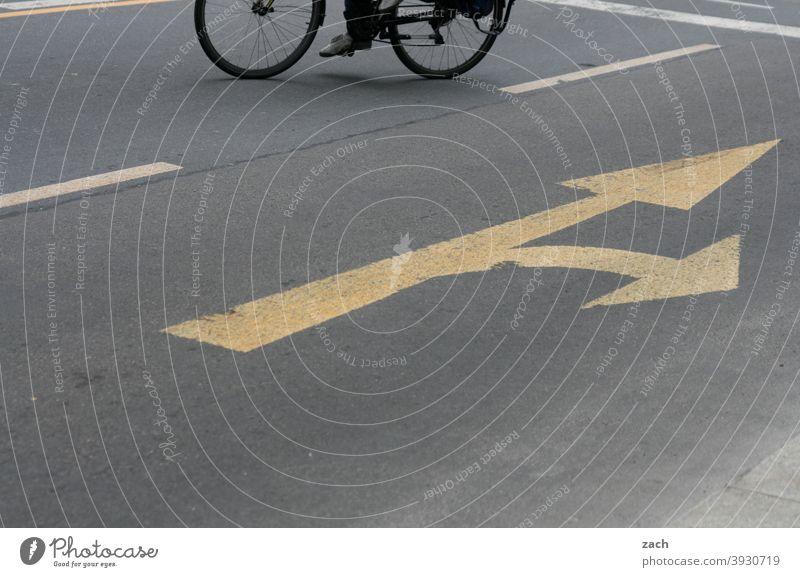 Jetzt aber schnell | Spurwechsel Fahrrad fahren Fahrradfahren Fahrbahnmarkierung Rad Radfahren Straße Verkehr Fahrradweg Wege & Pfade Mobilität umweltfreundlich