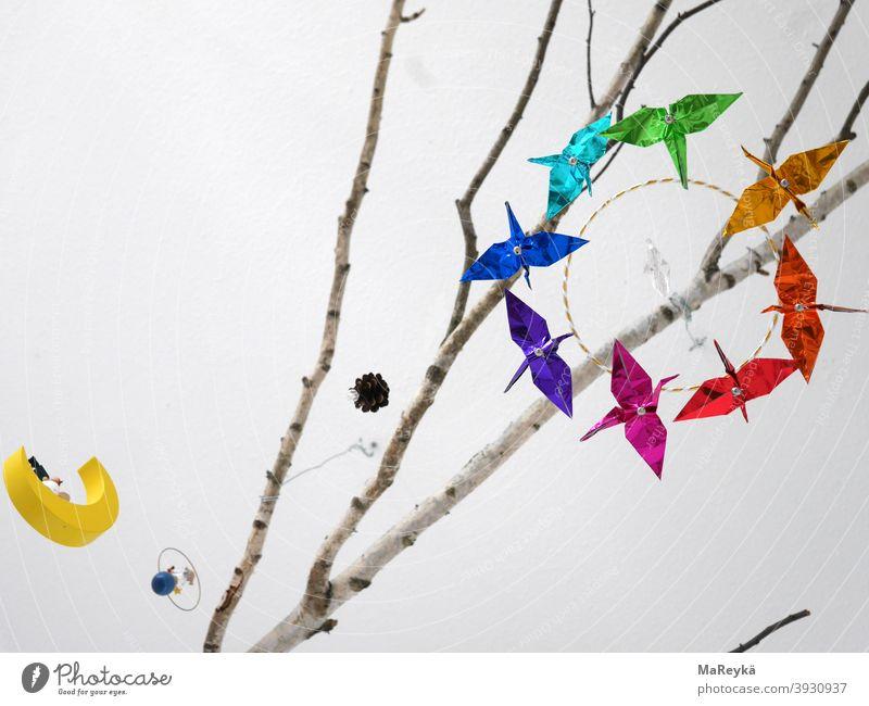 Traumzauberbaum Birke Mobile Kraniche Mond Kiefer hell träumen fliegen Ast Dekoration & Verzierung Traumwelt Decke Origami