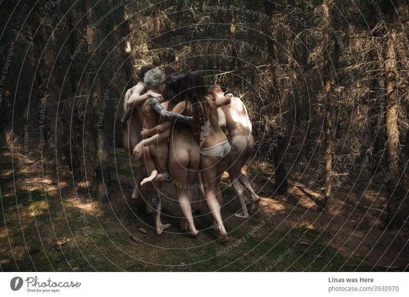 Diese Wälder sind mit wilden und nackten Jugendlichen durchstreift. Nudisten sind durch den dunklen Wald laufen, während alle zusammen Spaß haben. Diese Kerle sind frei geboren und keine Angst, dass in diesem Bild zu zeigen.