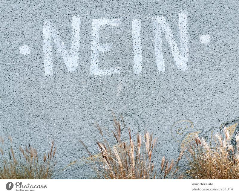 Nein. nein Wand grau Menschenleer Buchstaben Mauer Graffiti Wort Ablehnung Text Straßenkunst Wandmalereien Schriftzeichen
