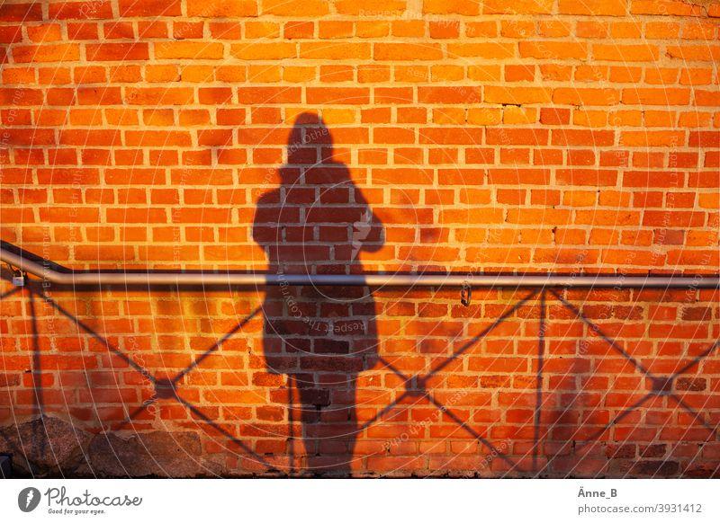 Mein Schatten und eine Mauer - Backstein, Schatten und Geländer Backsteinwand Ziegelsteine rot Wand Mauerstein Silhouette feuerrot Abendlicht Sonnenuntergang