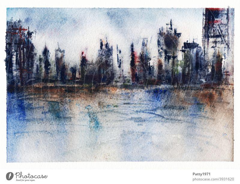 Aquarellmalerei. Abstrakte Skyline spiegelt sich in Wasser Kunst Malerei abstrakt Spiegelung Kreativität Gemälde Wasserfarbe Menschenleer Stadt Hochhaus malen