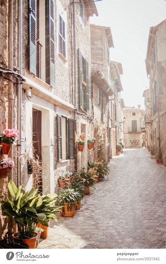 Mallorca Spanien Ferien & Urlaub & Reisen Mittelmeer Außenaufnahme Sommer Gasse alte Häuser Balearen Tourismus Haus Süden mediterran Menschenleer Fassade