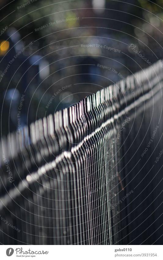 Schwarzer Eisenzaun Zaun Grenze Migration Gefahr schwarz Metall Ausgrenzung Ausgrenzen Angst flüchten Flüchtlinge Flucht Barriere Hindernis Tiefenunschärfe