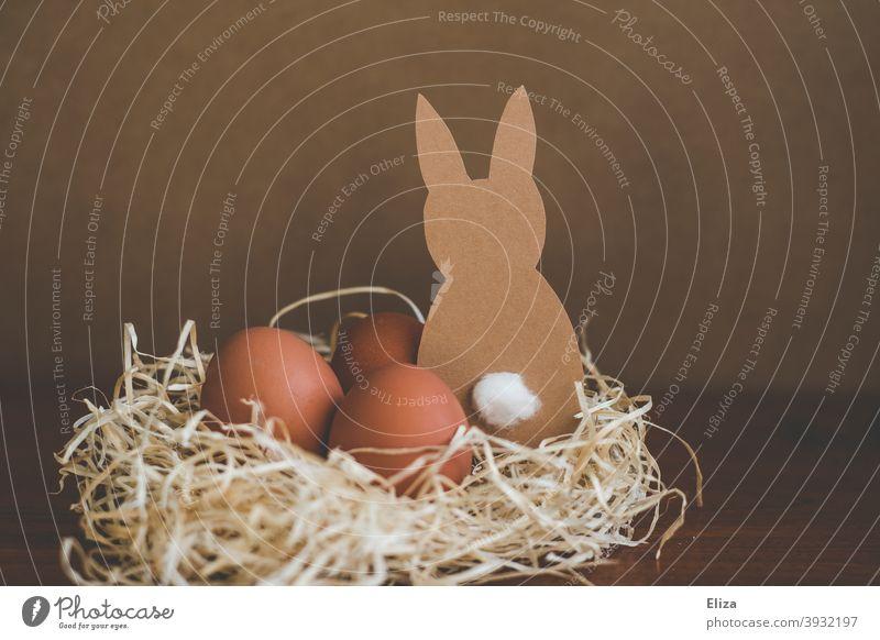 Gebastelter Hase aus Papier mit Eiern im Osternest Osterhase Ostereier braun natürlich bio schlicht